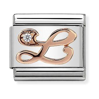 Nomination Classic Letter L Steel, CZ and 9k Rose Gold Link Charm 430310/12