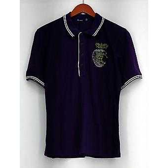 Top Short Sleeve Printed Polo Shirt Purple New