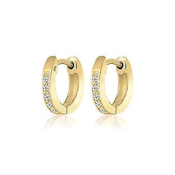ايلي بريميوم - أقراط طوق المرأة - الكلاسيكية - الذهب الأصفر 375 الماس (0.10 قيراط) قطع بيضاء زاهية - 0311971814