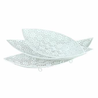 3 piece metal tray, white