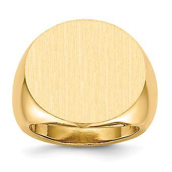 posteriore di 14 k giallo oro aperta Engravable Mens dell'anello di Signet - 14,5 gr - Dimensioni 10