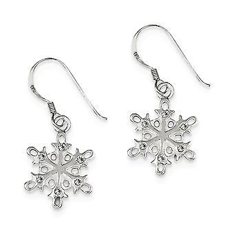 925 Sterling Silver Shepherd crochet poli et satin CZ Cubic Zirconia Simulated Diamond Snowflake Long Drop Long Drop Dangle Earr