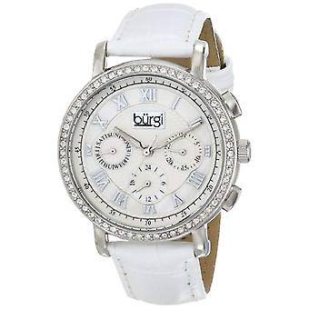 Burgi women's ', decorated with crystals, silver with black leather strap, with clock, color: white