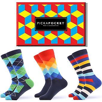 Männer's helle Kreuz Muster Geschenk-Box 3 Paar Socken