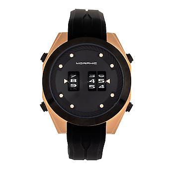 Morphic M76 Series Drum-Roll Strap Watch - Rose Gold/Black