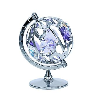 Crystocraft Freestanding Silver Plated Round The World Globe Ornament Made With Swarovski Crystals