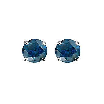 Dazzlingrock Collection 0.25 Carat (ctw) Round Cut Blue Diamond Ladies Stud Earrings 1/4 CT, Sterling Silver