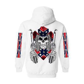 Unisex Hoodie Confederate Rebel Flag Cowboy With Guns