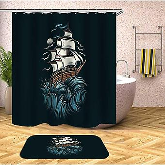 Sailing Ship mørk tegning dusj Curtain