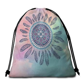 Pastel Background Feathers And Mandala  Beach Towel