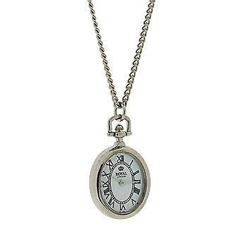 Royal London Ladies Open Faced Silvertone Pendant Watch Necklace On 26