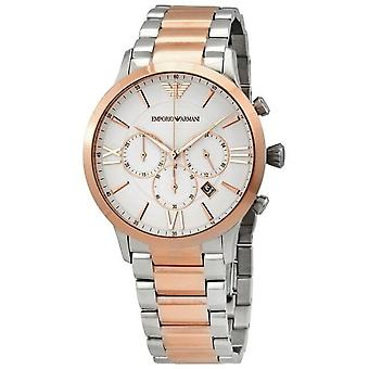 Armani Watches Ar11209 Giovanni Silver & Rose Gold Mens Chronograph Watch