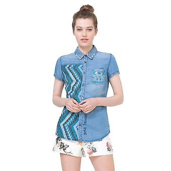 Desigual Women's Short Sleeved Denim Carson City Shirt
