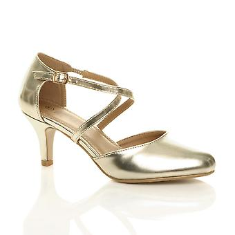 Ajvani womens mid high heel strappy crossover wedding evening sandals shoes