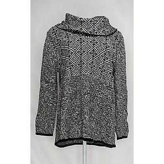 Style et Cie. Femmes plus Sweater Cowl Nck Mix Tunique Noir