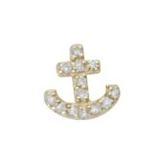 925 sterlinghopea 14k kullattu yhden perän CZ cubic zirkonia simuloitu timantti merenkulkulaiva Mariner Ankkuri Stud Ea
