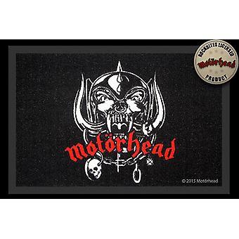 Motörheadin lattia matto logo musta, 100 % polyamidi, luistamaton PVC pohja.