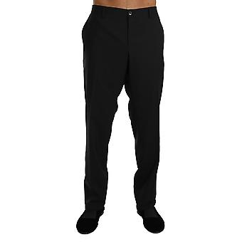 Dolce & Gabbana Black Wool Stretch Formal Trousers