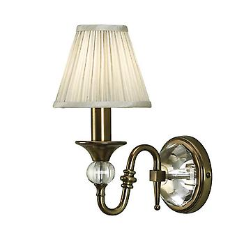 Polina Antique Brass Single Wall & Beige Shade 40w