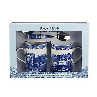 Blue Italian Mug and Teaspoon Set