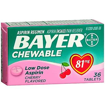 Bayer low dose aspirin, 81 mg, chewable tablets, cherry, 36 ea