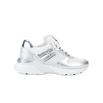 Hogan Hxw3850bf50n150351 Damen's Silber/weiß Leder Sneakers
