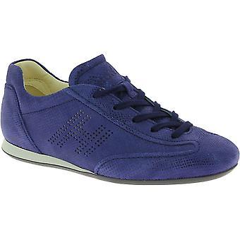 Hogan Women's Low Top Mode Runde Zehen Sneakers Schuhe in blauem Wildleder