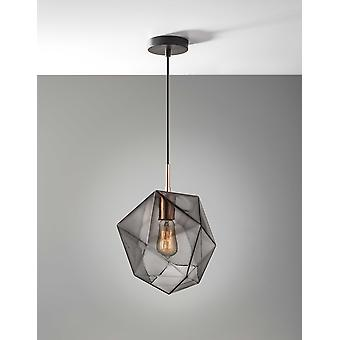 Cubist Copper Glass Ceiling Pendant