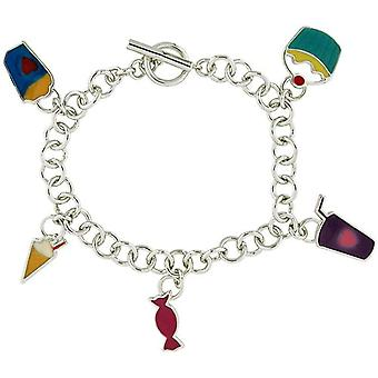 Foxy Candy - Ice Cream - Cup Cake Charm Silvertone 18.5cm Bracelet with T-Bar
