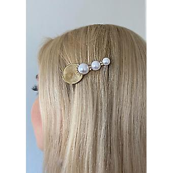 Unique hairpin with beads and gold plate