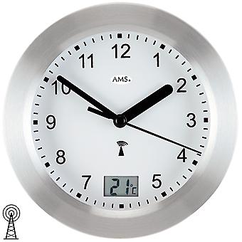 AMS 5923 Wall clock bathroom clock bathroom clock radio silver waterproof with thermometer