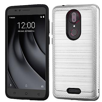 ASMYNA Brushed Hybrid Case for Revvl Plus - Silver/Black/Carbon Fiber Accent
