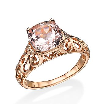 14K Rose Gold 2.00 CT natuurlijke perzik/roze VS Morganite Ring Vintage Art Deco Vine