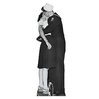 Victory Day Couple Lifesize Black and White Cardboard Cutout
