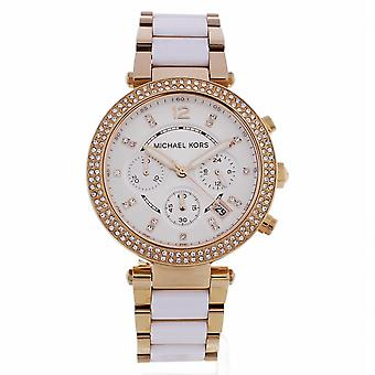 Michael Kors Watches Mk5774 Parker White And Rose Gold Chronograph Ladies Watch