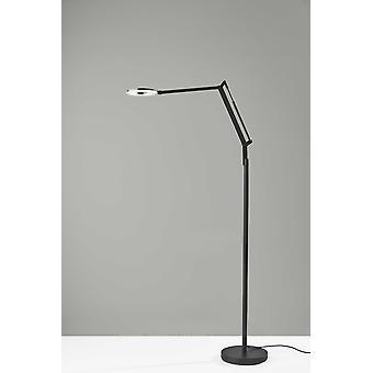 Lámpara de pie LED de metal negro flexible