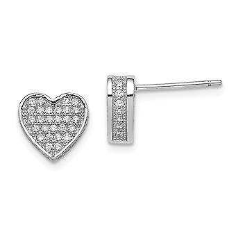 925 Sterling Silver CZ Cubic Zirconia Simulated Diamond MicroPave Love Heart Post Cadeaux bijoux pour les femmes
