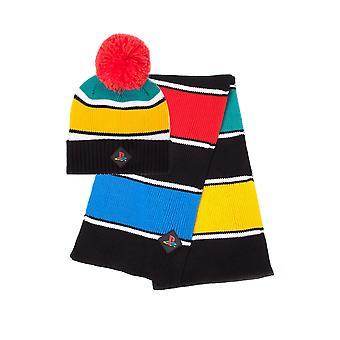 Official PlayStation Retro Colours Beanie & Scarf Gift Set