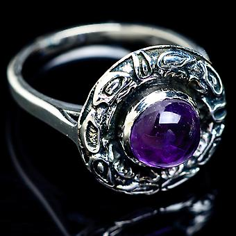 Amethyst Ring Size 7.25 (925 Sterling Silver)  - Handmade Boho Vintage Jewelry RING5252