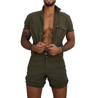 Allthemen Men's Workwear Tooling Jumpsuit Summer Solid Color Short Sleeve Suit