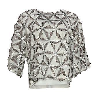 Masseys Women's Top Blouse w/ Zipper Closure & Embellishment Detail White