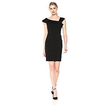 Brand - Lark & Ro Women's Asymmetrical Flounce Neckline Sheath Dress, Black, 4