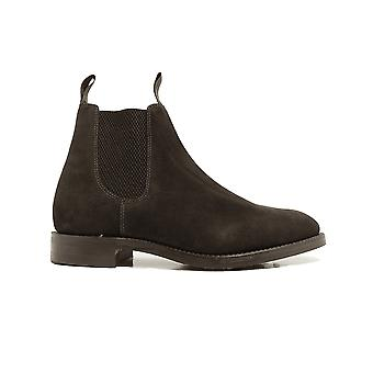 Loake Chatsworth Dark Brown Suede Leather Mens Chelsea Boots