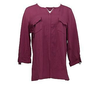 الدنيم وشركاه المرأة & ق أعلى لفة التبويب طويل الأكمام W / جيوب الأرجواني A294097