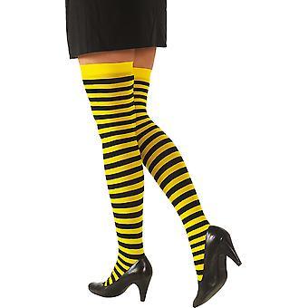 Meias de abelhas amarelas pretas listradas carnaval