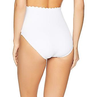 Coastal Blue Women's Swimwear High Waist Bikini Bottom, True White, S