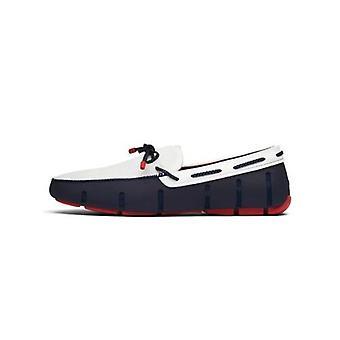 Zwemt Navy Blue, White & Red Gevlochten Kant Loafer