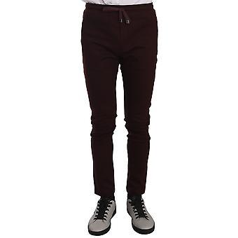 Dolce & Gabbana Maroon Cotton Casual Training  Pants PAN61321-44