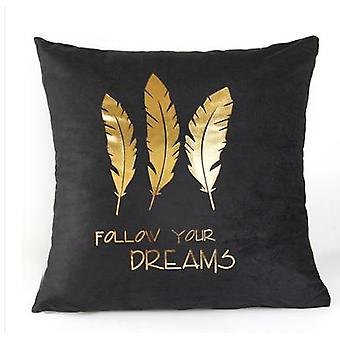 Golden Love Leaves Bronzing Decoratieve Zwart-Wit Fluwelen kussensloop