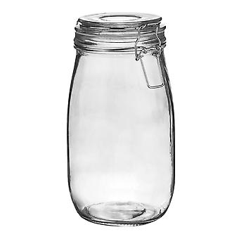Argon Tableware Glass Storage Jar with Airtight Clip Lid - 1.5L - Clear Seal